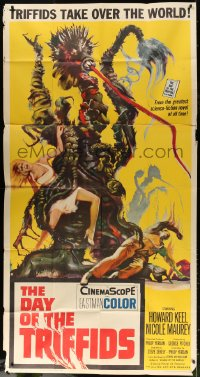 7t207 DAY OF THE TRIFFIDS 3sh 1962 classic English sci-fi horror, cool art of monster with girl!