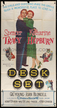 7t210 DESK SET 3sh 1957 Spencer Tracy & Katharine Hepburn make the office a wonderful place!