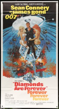 7t212 DIAMONDS ARE FOREVER int'l 3sh 1971 Robert McGinnis art of Sean Connery as James Bond!