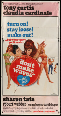 7t215 DON'T MAKE WAVES style B 3sh 1967 Tony Curtis with sexy Sharon Tate & Claudia Cardinale!