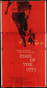 7t218 EDGE OF THE CITY 3sh 1957 great different Saul Bass art of man running off of the poster!