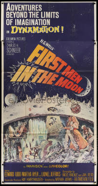 7t222 FIRST MEN IN THE MOON 3sh 1964 Ray Harryhausen, H.G. Wells, fantastic sci-fi art!