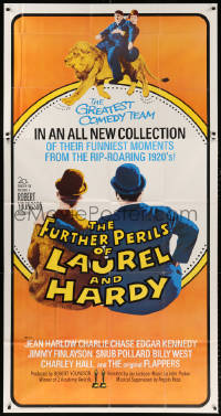 7t226 FURTHER PERILS OF LAUREL & HARDY 3sh 1967 great image of Stan & Ollie riding lion!