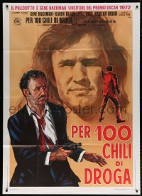 7t829 CISCO PIKE Italian 1p 1972 cool different art of Gene Hackman with gun & Kris Kristofferson!