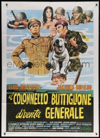 7t825 COLONEL BUTTIGLIONE BECOMES GENERAL Italian 1p 1974 art of soldiers with naked woman & dog!