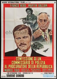 7t823 CONFESSIONS OF A POLICE CAPTAIN Italian 1p 1971 art of Franco Nero & Martin Balsam by Mos!