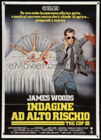 7t819 COP Italian 1p 1988 Crispino art of policeman James Woods on phone by murdered woman on bed!