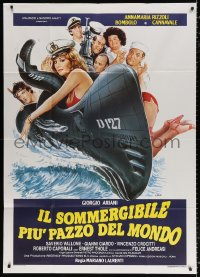 7t816 CRAZY NAVY Italian 1p 1982 Sciotti art of sexy half-naked woman on military submarine!