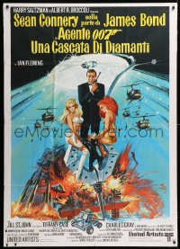 7t802 DIAMONDS ARE FOREVER Italian 1p 1971 art of Sean Connery as James Bond & girls by McGinnis!