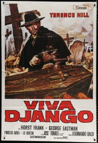 7t799 DJANGO PREPARE A COFFIN Italian 1p R1980s Gasparri art of Terence Hill as Django by coffin!