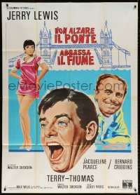 7t796 DON'T RAISE THE BRIDGE, LOWER THE RIVER Italian 1p 1968 wacky art of Jerry Lewis in London!