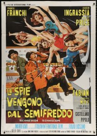 7t794 DR. GOLDFOOT & THE GIRL BOMBS Italian 1p 1966 Mario Bava, art of sexy girls w/Franco & Ciccio