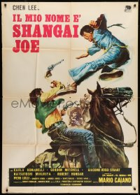 7t793 DRAGON STRIKES BACK Italian 1p 1972 Il mio nome e Shanghai Joe, cool kung fu western art!