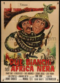 7t791 DUE BIANCHI NELL'AFRICA NERA Italian 1p 1970 Franco art of snake constricting Franco & Ciccio!