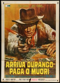 7t790 DURANGO IS COMING, PAY OR DIE Italian 1p 1971 Piovano spaghetti western art of Brad Harris!