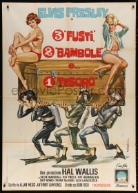 7t789 EASY COME, EASY GO Italian 1p 1967 Colizzi art of diver Elvis Presley & sexy ladies, rare!