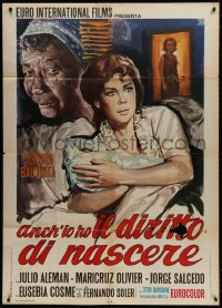 7t788 EL DERECHO DE NACER Italian 1p 1968 The Right to Be Born, art of scared mother & child!