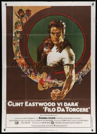 7t782 EVERY WHICH WAY BUT LOOSE Italian 1p 1979 Bob Peak art of Clint Eastwood & Clyde orangutan!