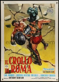 7t781 FALL OF ROME style B Italian 1p 1963 Margheriti's Il Crollo di Roma, cool sword & sandal art!
