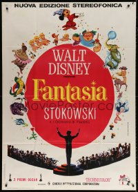 7t780 FANTASIA Italian 1p R1970s great art of Mickey Mouse, Stokowski & others, Disney classic!