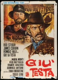 7t777 FISTFUL OF DYNAMITE Italian 1p 1972 Leone, different c/u art of Coburn & Steiger by Gasparri!
