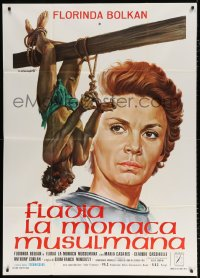7t776 FLAVIA Italian 1p 1974 Tarantelli art of Florinda Bolkan watching man bound & hung!