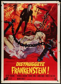 7t775 FRANKENSTEIN MUST BE DESTROYED Italian 1p 1970 different Avelli art of Cushing & sexy Carlson!