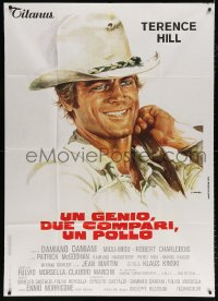 7t766 GENIUS, TWO FRIENDS & AN IDIOT Italian 1p 1975 Damiani & Leone, Casaro art of Terence Hill!