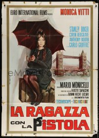 7t765 GIRL WITH THE PISTOL Italian 1p 1968 art of sexy Monica Vitti with umbrella by London Bridge!