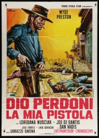 7t762 GOD WILL FORGIVE MY GUN Italian 1p 1969 great Ezio Tarantelli spaghetti western art!