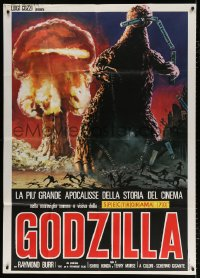 7t761 GODZILLA Italian 1p R1977 different art of King of the Monsters w/train & mushroom cloud!