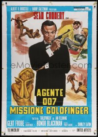7t760 GOLDFINGER Italian 1p R1970s art of Sean Connery as James Bond + sexy golden Shirley Eaton!