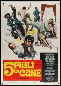 7t756 GREAT GANG WAR Italian 1p 1969 Giorgio Olivetti crime montage art of gangsters, Bootleggers!