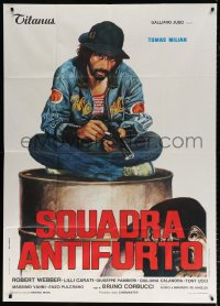 7t750 HIT SQUAD Italian 1p 1976 Bruno Corbucci, great art of Tomas Milian with cigarette & gun!