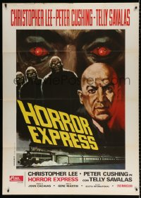 7t748 HORROR EXPRESS Italian 1p 1974 different art of Telly Savalas & monsters over train!