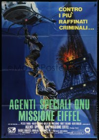 7t745 HOSTAGE TOWER Italian 1p 1980 Alistair McLean, cool Ciriello art of Eiffel Tower explosion!