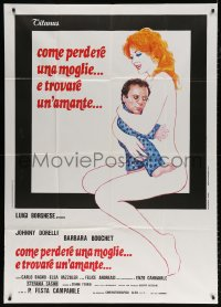 7t743 HOW TO LOSE A WIFE & FIND A LOVER Italian 1p 1978 wacky art of naked woman holding tiny man!