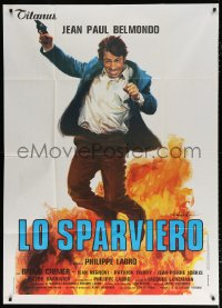 7t740 HUNTER WILL GET YOU Italian 1p 1976 art of exploding Jean-Paul Belmondo by Ciriello!