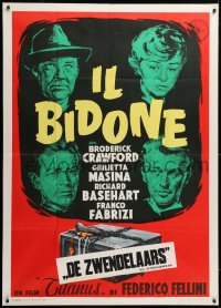 7t735 IL BIDONE Italian 1p 1955 Federico Fellini, great art of top cast & chained box, rare!