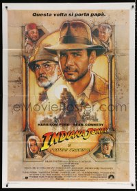 7t730 INDIANA JONES & THE LAST CRUSADE Italian 1p 1989 Struzan art of Harrison Ford & Sean Connery!