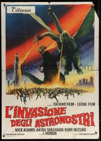 7t729 INVASION OF ASTRO-MONSTER Italian 1p 1970 Toho, cool different art of battling monsters!