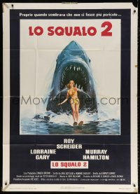 7t725 JAWS 2 Italian 1p 1978 great art of the killer great white shark attacking sexy swimmer!