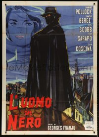 7t722 JUDEX Italian 1p 1964 best art of caped master criminal Channing Pollock standing on rooftop!
