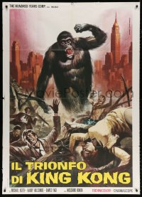 7t718 KING KONG VS. GODZILLA Italian 1p R1973 different art of just the ape by Piovano!