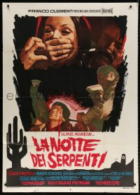 7t675 NIGHT OF THE SERPENT Italian 1p 1969 wild art of woman being silenced & tortured man!