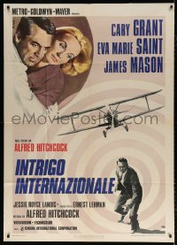 7t673 NORTH BY NORTHWEST Italian 1p R1976 Cary Grant, Saint & cropduster, Hitchcock, Nistri art!