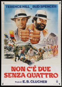 7t671 NOT TWO BUT FOUR Italian 1p 1984 art of Terence Hill & Bud Spencer by Renato Casaro!