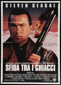 7t668 ON DEADLY GROUND Italian 1p 1994 super close up of Steven Seagal with shotgun!