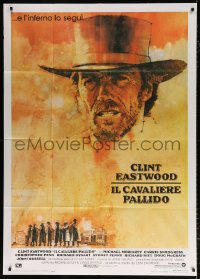 7t665 PALE RIDER Italian 1p 1985 great artwork of cowboy Clint Eastwood by C. Michael Dudash!