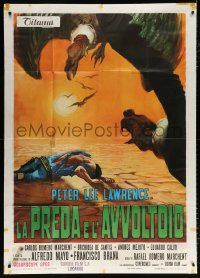 7t656 PREY OF VULTURES Italian 1p 1972 spaghetti western art of cowboy surrounded by vultures!